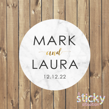 Personalised Wedding Stickers - Marble Design